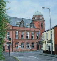 Atherton Town Hall. Acrylics on board.